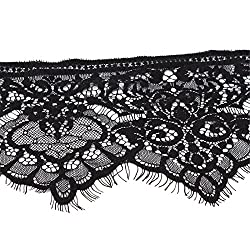 New Hot Black Lace Band New And High Quality 300cm Floral Lace Single Scalloped For Edge Eyelash Mesh Trimming Embellishments 19cm