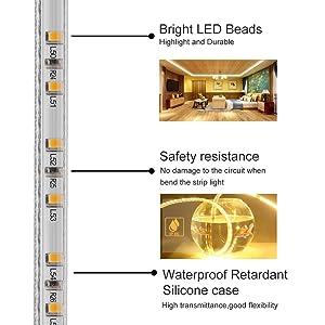 MINGER Flexible LED Light Strip, Waterproof 16.4FT Warm White LED Strip Lights, 300 Units SMD 12V Low-Voltage LED Ribbon DIY Under Cabinet Lighting St