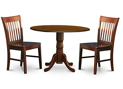 East West Furniture DLNO3-MAH-W 3-Piece Kitchen Nook Dining Table Set, Mahogany Finish