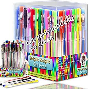 Bright Knight Gel Pens | 36 Gel Pen Set | These are Quality Gel Ink Pens | Multi Colored | Fine Ink Ballpoint Pens | Smooth, Anti Skip, Vibrant Color - Neon , Pastel, Metalic, Glitter | A Great Range of Colors in This Gel Pen Set | Manufactured to the Highest Standard and Complete with a Full Product Replacement Guarantee.