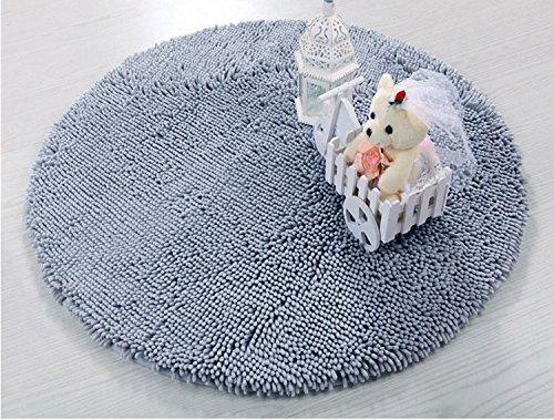 Luxbon teppich mat chenille rund durchmesser ca 23 6 inch - Fliesen farbe grau ...