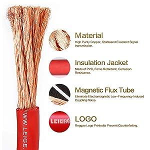 LEIGESAUDIO 8 Gauge Red OFC Power/Ground Wire,25 Feet,99.9% Oxygen-free Copper