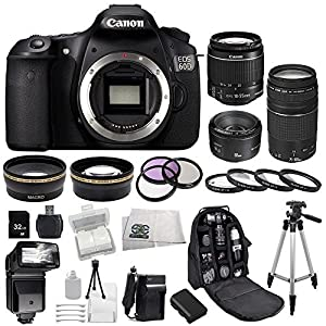 Canon EOS 60D DSLR SSE Bundle Camera Kit with 3 Canon lenses: Featuring Canon EF-S 18-55mm f/3.5-5.6 IS Lens + Canon Normal EF 50mm f/1.8 II + Canon Zoom Telephoto EF 75-300mm f/4.0-5.6 III Autofocus Lens, Also Includes: 0.43x Wide Angle Lens & 2.2x Telephoto Lens, 3 Piece Multi-Coated Filter Kit & 4 Piece Macro Lens Kit, Extra LP-E6 Replacement Battery & Travel Charger, 32GB SDHC Memory Card & Reader, Deluxe Backpack, Bounce and Swivel Zoom Flash and Much More
