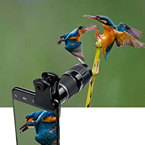 Monocular Telescope and Cell Phone Lens, 20X Zoom Telephoto Lens, HD Phone Camera Lens for iPhone, Samsung, Android Smartphone (Color: Black, Tamaño: small)