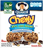 Quaker Chewy Granola Bar Reduced Sugar Cookies N Cream, 8-Count Boxes (Pack of 12)