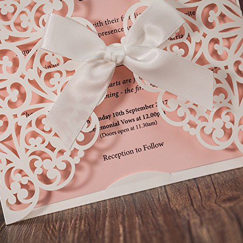 JOFANZA 50x White Square Laser Cut Wedding Invitations Cards with Bow Lace Sleeve Invitations for Engagement Baby Shower Birthday Quinceanera (set of 50pcs) CW6177 2