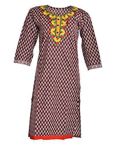Global Women's Cotton Straight Kurta (GW70DBrown40015, Brown, 40)