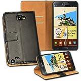 OneFlow PREMIUM - Book-Style Case im Portemonnaie Design mit Stand-Funktion - für Samsung Galaxy Note (N7000 / N7005 LTE) - SCHWARZ