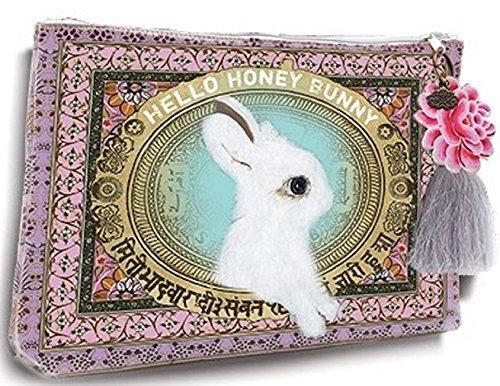 papaya-art-honey-bunny-white-rabbit-oil-cloth-travel-pouch-cosmetic-make-up-bag-by-papaya-art