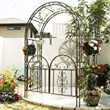 ゴージャスアイアンアーチ&ゲート 高さ213cm×幅137cm×奥行58cm 立体構造 ブロンズブラウン IPN-7974-BRZ