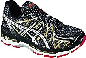 ASICS Men's Gel Kayano 20 Running Shoe,Black/White/Gold,8 M US