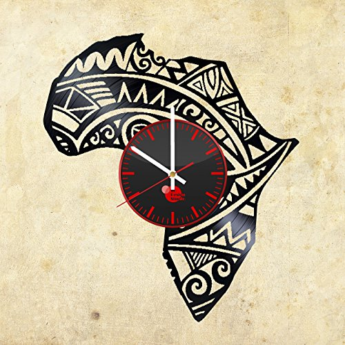 Africa-Continent-HANDMADE-Vinyl-Record-Wall-Clock-Get-unique-bedroom-wall-decor-Gift-ideas-for-teens-boys-and-girls-Africa-Travel-Unique-Art-Leave-us-a-feedback-and-win-your-custom-clock