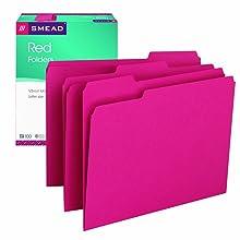 Smead 1/3-Cut File Folders, Letter Size, Red, 100 Per Box (12743)