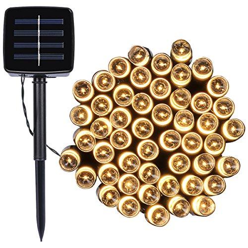 12M 100er 8 Modus wasserdicht Solar Lichterketten LED Weihnachtsleucht Weihnachtskette LeuchtmittelWarm weiß Dekorative Innen & Aussen GartenTerrasse Rasen Landschaft [Energieklasse A]