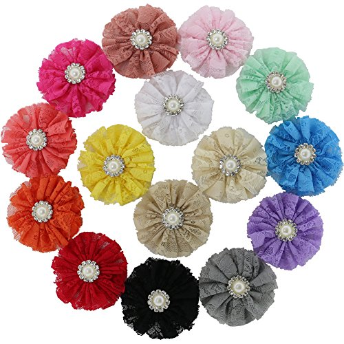 Find Discount QingHan Girls 3 Lace Ballerina Flower Hair Clips Headband Flowers Pack Of 15