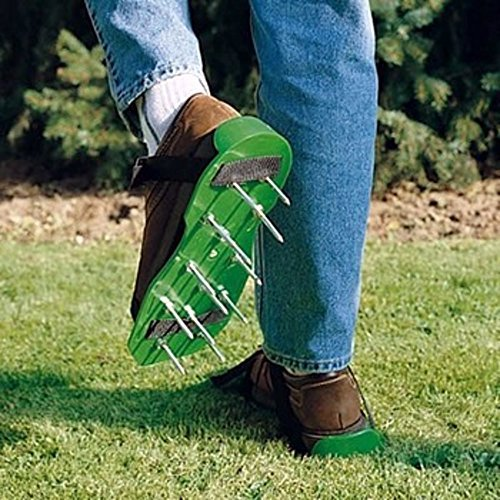 MWGears Lawn Aerator Shoes w/Plastic Buckles and 3 Straps - Heavy Duty Spiked Sandals for Aerating Your Lawn or Yard (Green)