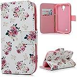 YOKIRIN Samsung Galaxy S4 S IV i9500 H�lle Handy Tasche Etui Schale Blumen Flowers Rosa Pink mit Standfunktion Kredit Kartenf�cher Magnetverschluss