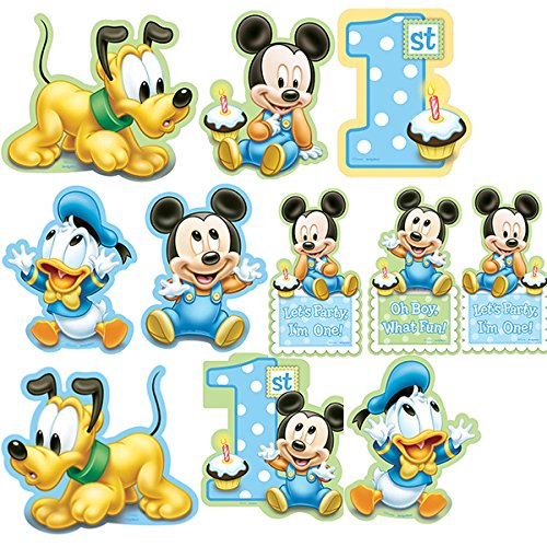 12-Piece Mickey's 1st Birthday Value Pack Cutout Decor, Blue