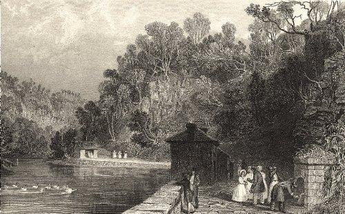 Cumbria: Gilsland Spa. Figures Drinking. Cumberland. (Allom); Old Print 1832