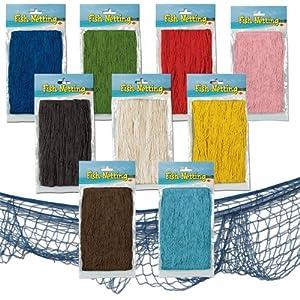 Decorative blue fishing net 4 39 x 12 39 nautical fish for Decorative fishing net
