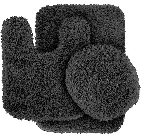 Garland Rug 3-Piece Serendipity Shaggy Washable Nylon Bathroom Rug Set, Dark Gray front-297236
