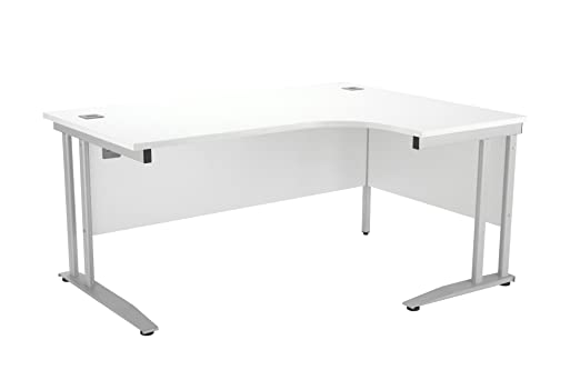 One Cantilever Plus Crescent Desk Silver Legs