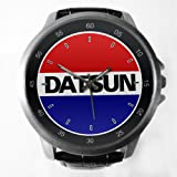 Datsun City Car Red Blue Custom Metal Sport Watch with Leather Band