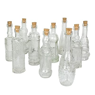 Darice 70-Piece Assorted Glass Bottle, 5-inches, Clear