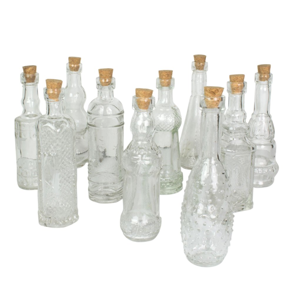 Vintage Glass Bottles With Corks Assorted 5 Inch Set Of 10 Clear