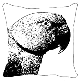 Leaf Designs - Black And White Parrot Cushion Cover