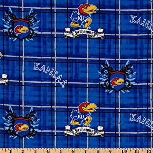 44 39 39 wide collegiate cotton broadcloth university of kansas plaid blue fabric by the. Black Bedroom Furniture Sets. Home Design Ideas
