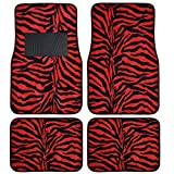 BDK Safari Zebra Print Design Floor Mats for Car, Truck, SUV - Universal Fit Auto Accessories, 4 Pieces (Red)