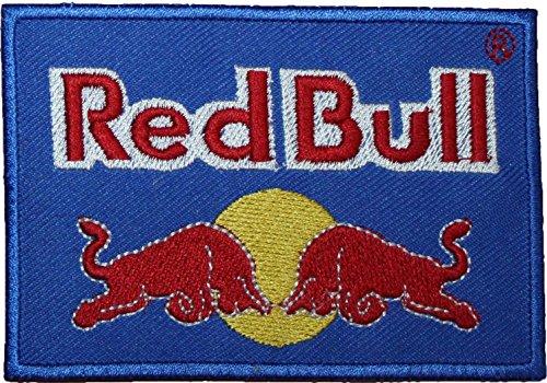 "Red Bull ricamato con Logo Blu 10,16 cm (4"") Sew o Iron on-on"