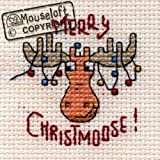 Mouseloft Mini Cross Stitch Card Kit - Merry Christmoose, Christmas Collection