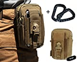 LefRight(TM) Combo 2 Black Carabiner + Coyote Tan 1000D Nylon Tough Duty Military Tactical Molle EDC Compatible Universal Security Pack Casual Waist Bag Rock Climbing Outdoor Gear Holster Utility Pouch Hiking Cycling Smartphone Big Capacity Carry Pouch Tools Belt Waist Bag quiksilver Pocket Money Purse for iPhone 6 iPhone 6 Plus