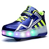 Ufatansy Uforme Kids Boys Girls High-Top Shoes LED Light up Sneakers Single Wheel Double Wheel Roller Skate Shoes(12.5 M US =CN30, Blue-Double wheels) (Color: Blue-double Wheels, Tamaño: 12.5 M US =CN30)