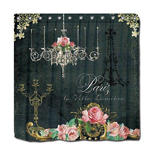 YYT Personalized Shower Curtains Romantic Paris Parisian Rose Chandelier Chalkboard Shower Curtain 72