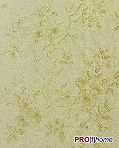 EDEM 714-28 embossed heavy-weight vinyl wallpaper flower olive gold | 5.33 sqm (57 sq ft) by EDEM
