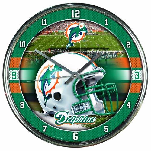 NFL Miami Dolphins Chrome Clock