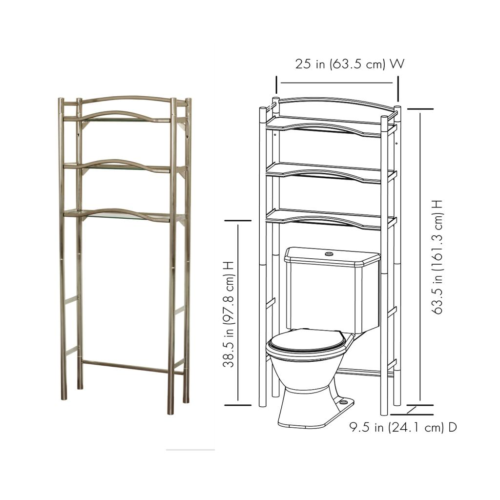 Brushed Nickel Bathroom Shelving Unit: Zenna Home 9070BN, Bathroom Spacesaver
