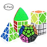 Tresbro Speed Cube Set 6 Pack Pyramid Mastermorphix 3x3 SQ-1 Mirror Cube Smooth Speedcubing Magic Cube Puzzle for Adults and Kids