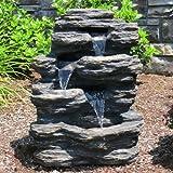"24"" Rock Waterfall Garden Fountain w/ LED Lights: Perfect Garden Water Feature, Patio Fountain, Outdoor Fountain. Features Elegant Waterfall Flow"