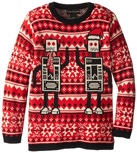Alex Stevens Big Boys' Ugly Christmas Sweater Robots, Red Combo, Large
