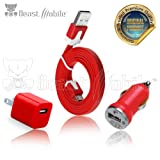 Kit de cargador móvil Premium 3 en 1 de 1 Amp 5 Watts para iPhone 5/5s/5c Cable de carga USB mini cargador de pared y de carro(Rojo)