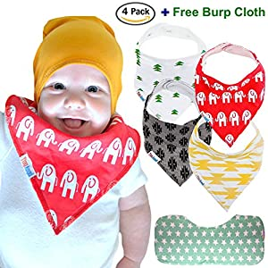 ★ 4-Pack Baby Bandana Drool Bibs (Unisex) & FREE Organic Cotton Burp Cloth ~ Best Gift For Toddlers
