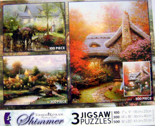 Thomas-Kinkade-Painter-of-Light-Shimmer-3-Puzzles-Set-100-300-and-500-Piece