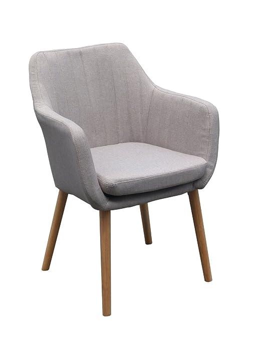 Armlehnstuhl ANNY Light-Grey Esszimmerstuhl Sessel Stoffstuhl Stuhl Stoffbezug