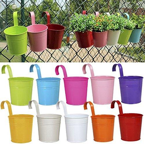 Vasi da fiori in metallo da appendere al balcone o per uso in giardino, 10 pezzi