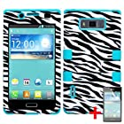 LG OPTIMUS SHOWTIME SPLENDOR VENICE ZEBRA ANIMAL TEAL HYBRID COVER HARD GEL CASE + FREE SCREEN PROTECTOR from [ACCESSORY ARENA]