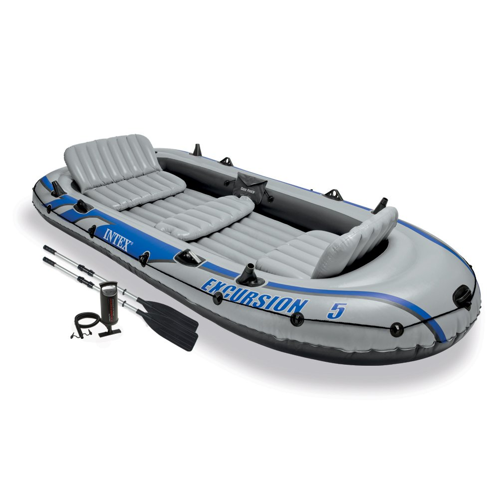 Intex Excursion 5, 5-Person Inflatable Boat Set with Aluminum Oars and High Output Air Pump, (Latest Model)